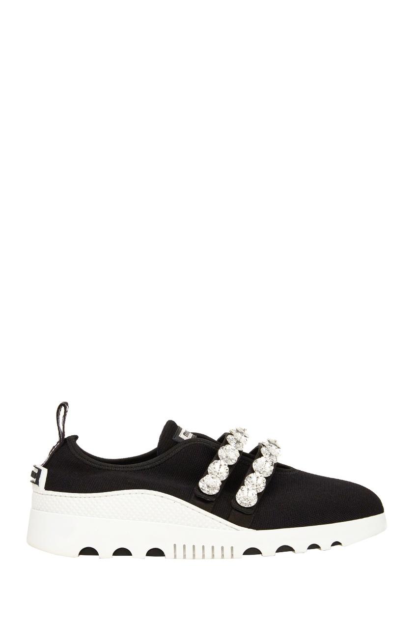Miu Miu Текстильные кроссовки с кристаллами цена
