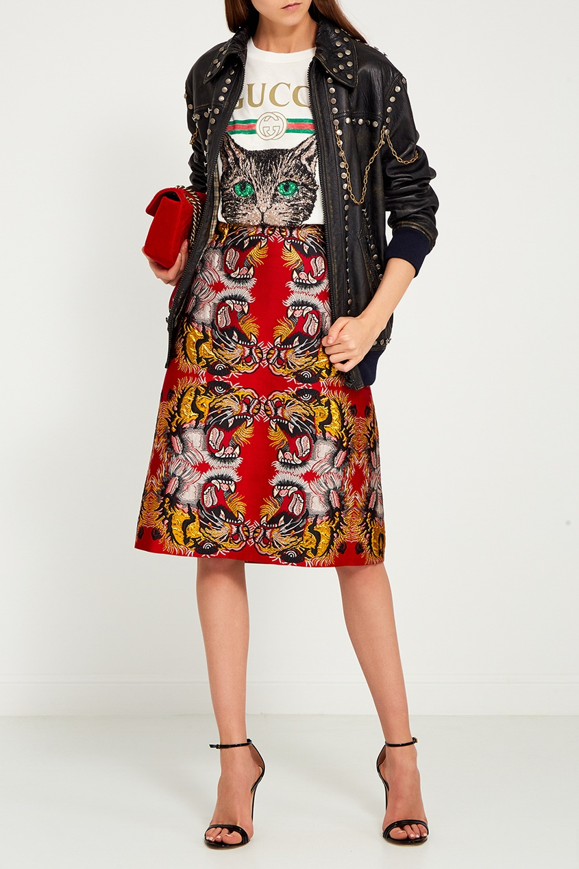 Gucci Красная бархатная сумка GG Marmont