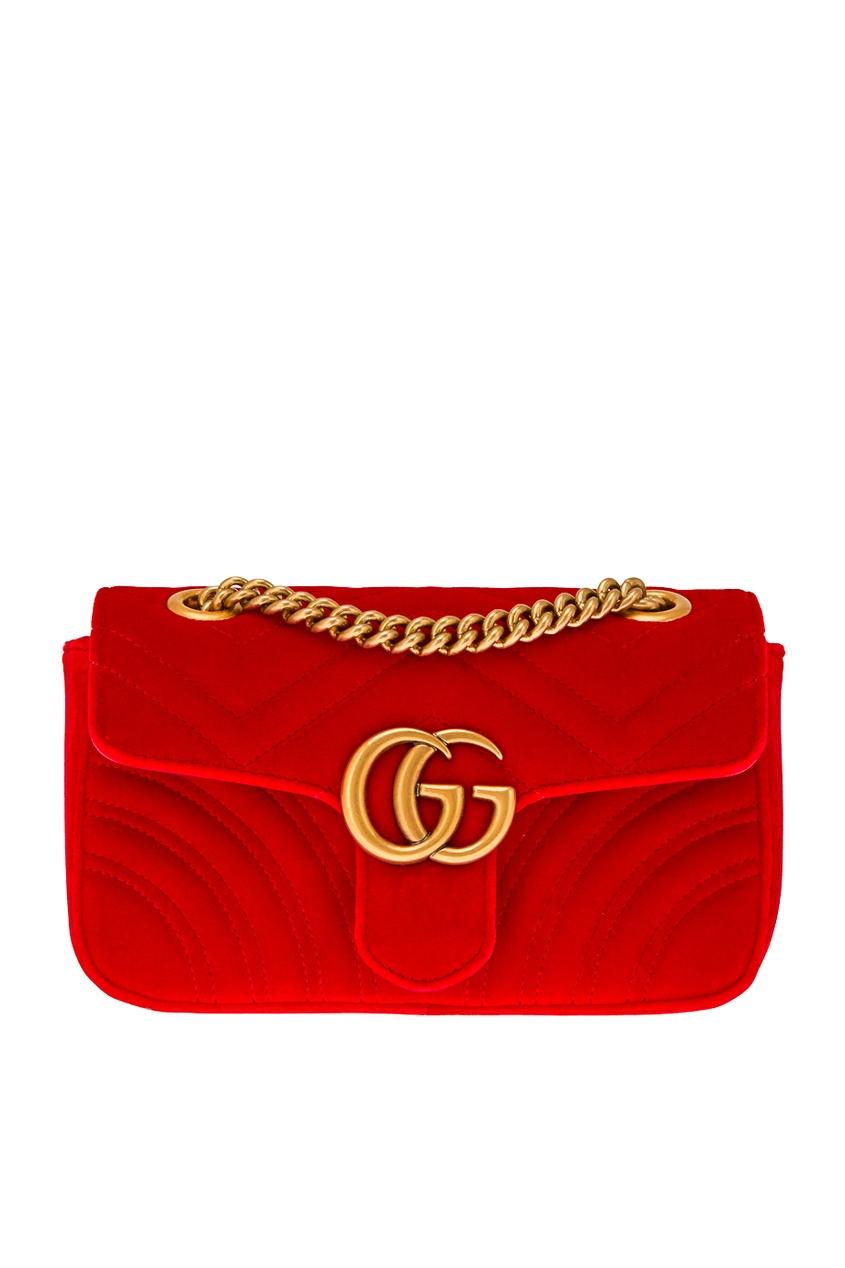 Gucci Красная бархатная сумка GG Marmont gucci кожаные туфли gg marmont