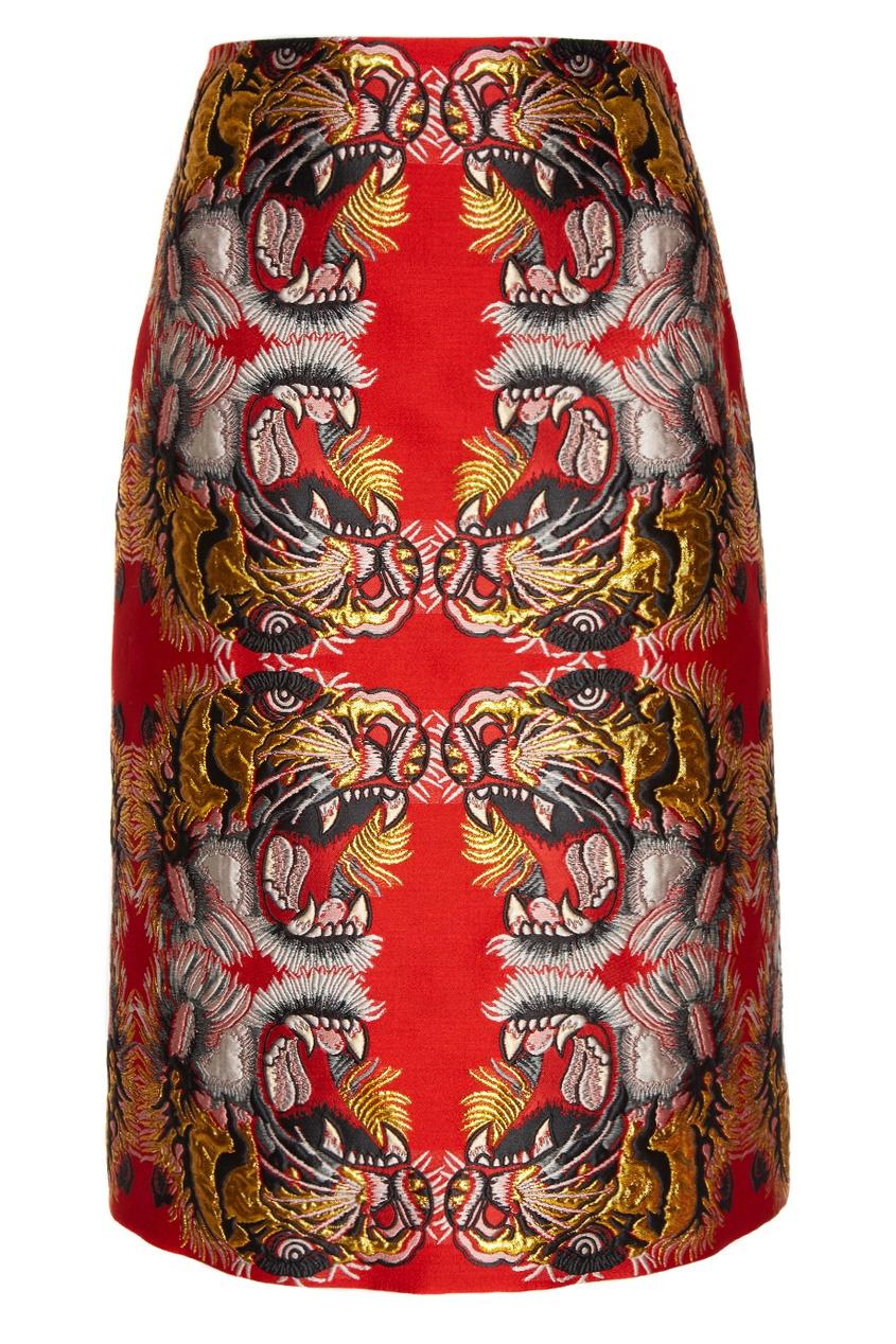 Купить со скидкой Жаккардовая юбка-карандаш с тиграми