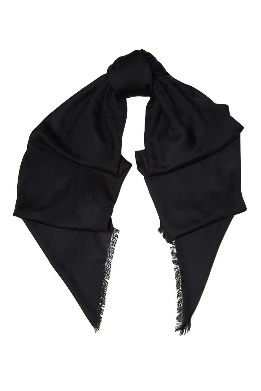 Черный шерстяной шарф