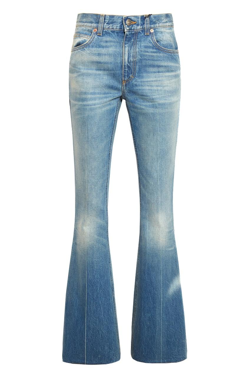 Расклешенные потертые джинсы от Gucci