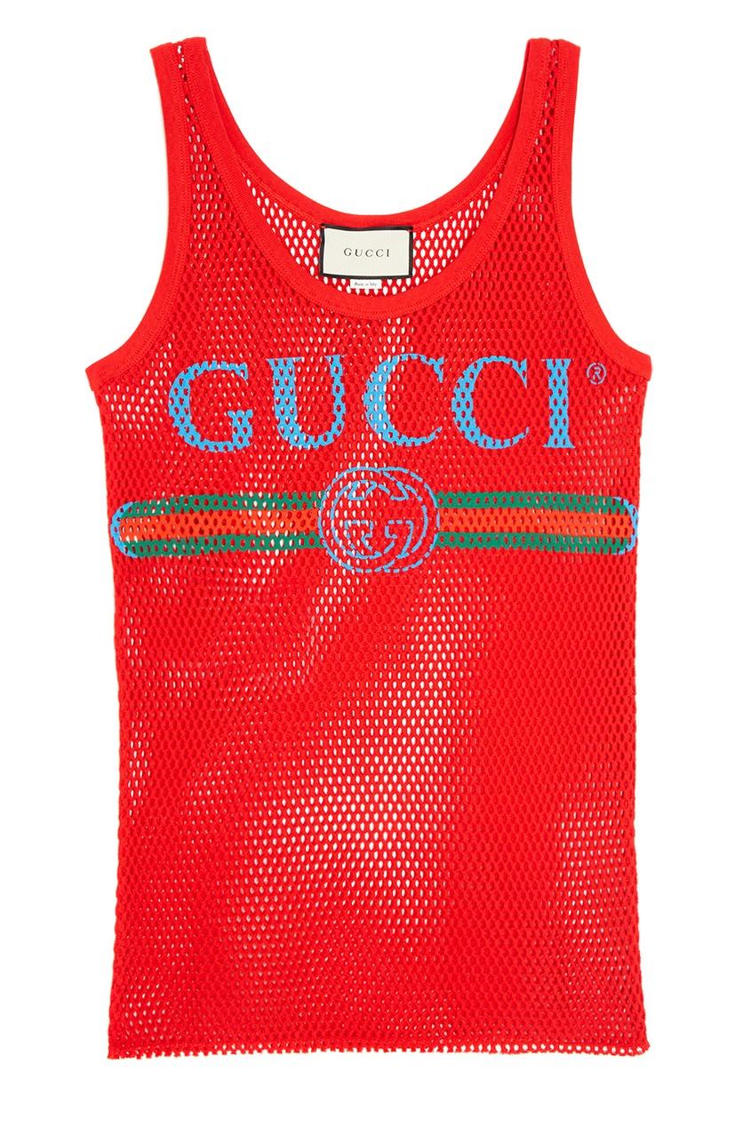 Хлопковая майка из сетки Gucci