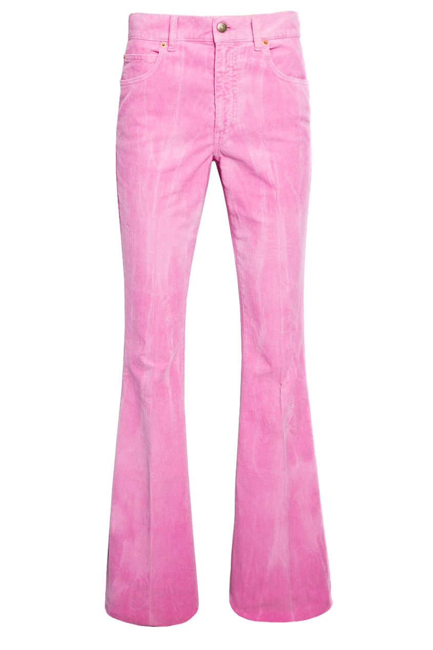 Розовые вельветовые брюки Gucci