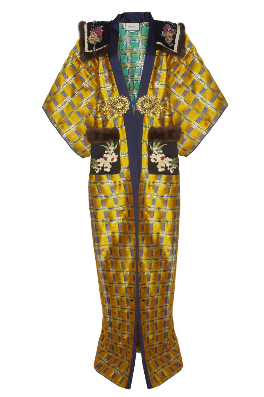 Gucci Жаккардовое пальто с вышивкой и мехом