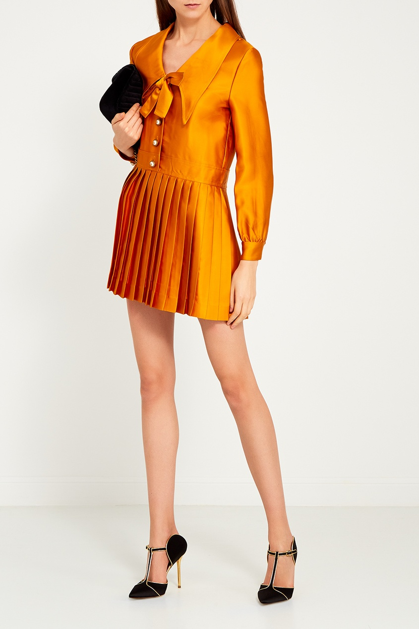 Gucci Платье с плиссированным подолом gucci асимметричное платье
