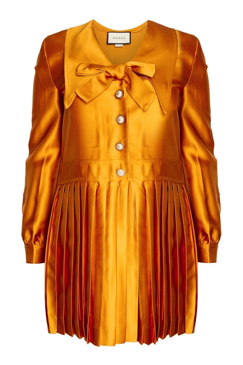 Платье с плиссированным подолом от Gucci