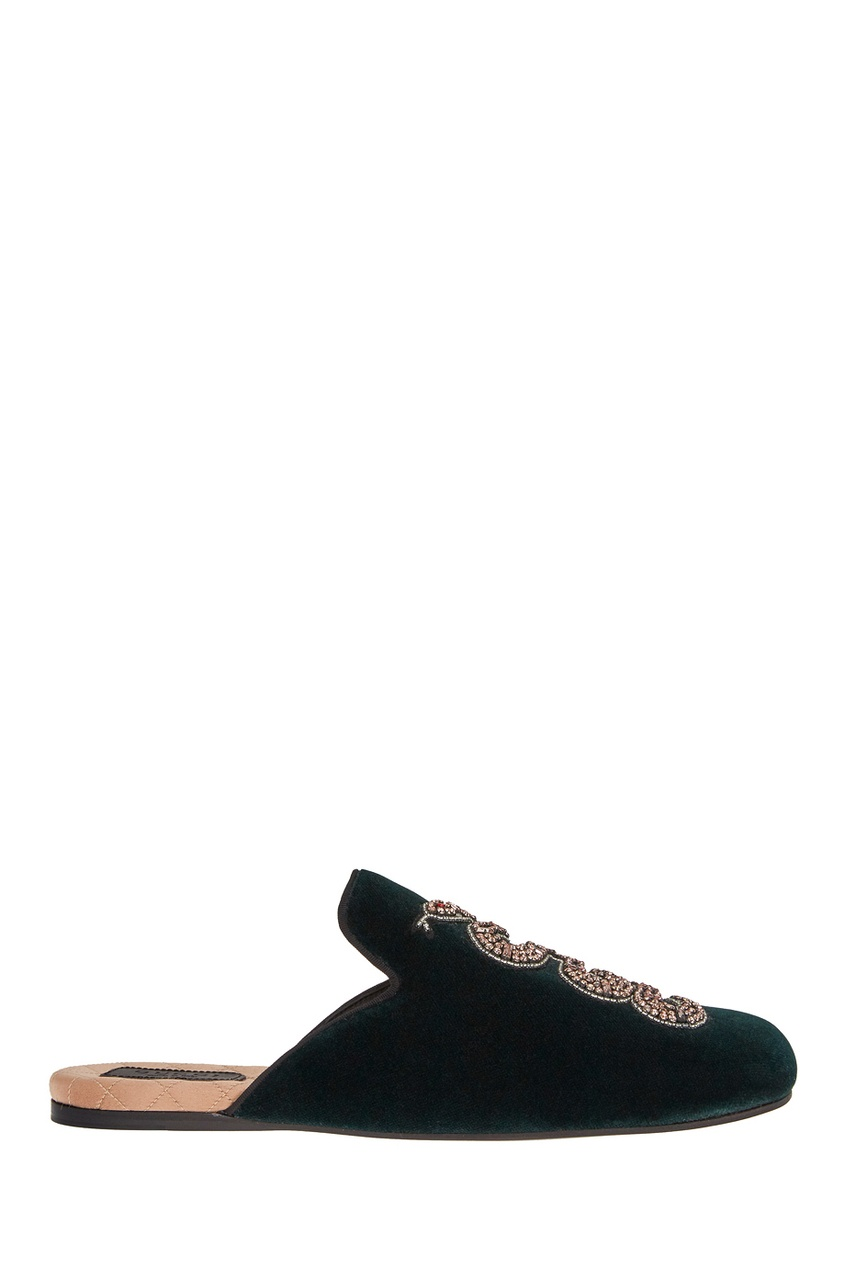 Gucci Бархатные слиперы с кристаллами вышивка бисером молящийся христос