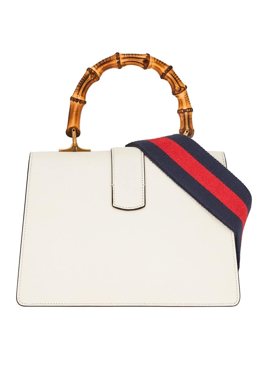 Фото 5 - Кожаная сумка Dionysus от Gucci белого цвета