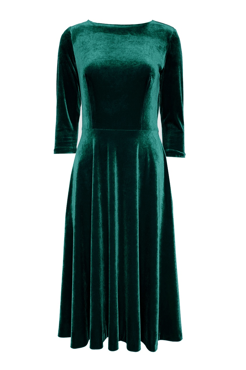 ЛИ-ЛУ Зеленое бархатное платье