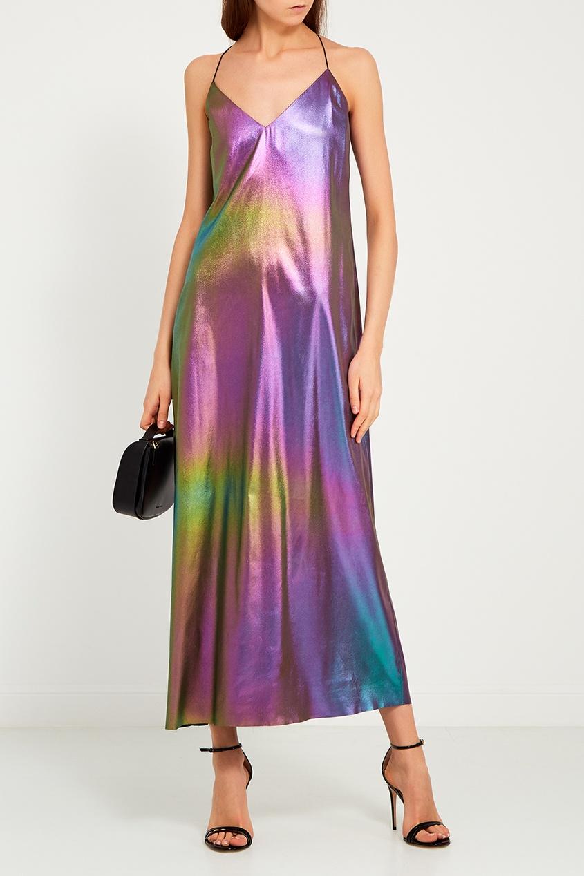 Разноцветное платье на беретлях