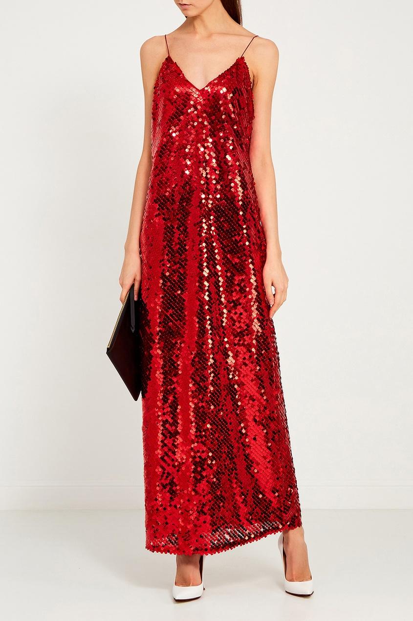 ЛИ-ЛУ Красное платье с пайетками