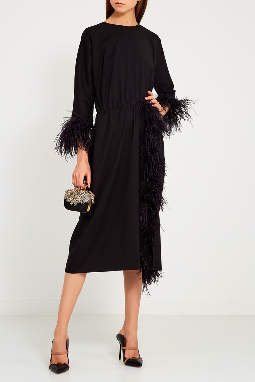 ЛИ-ЛУ Черное платье с перьями