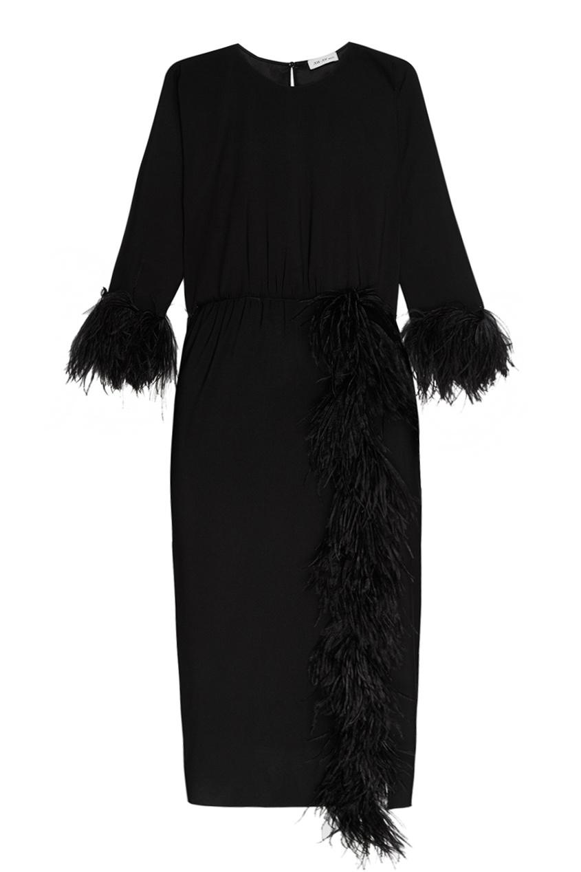 ЛИ-ЛУ Черное платье с перьями платье черное с паетками 44