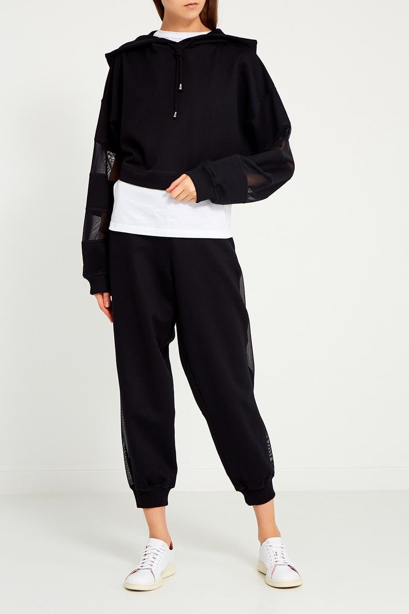 Черное худи с сеткой на рукавах