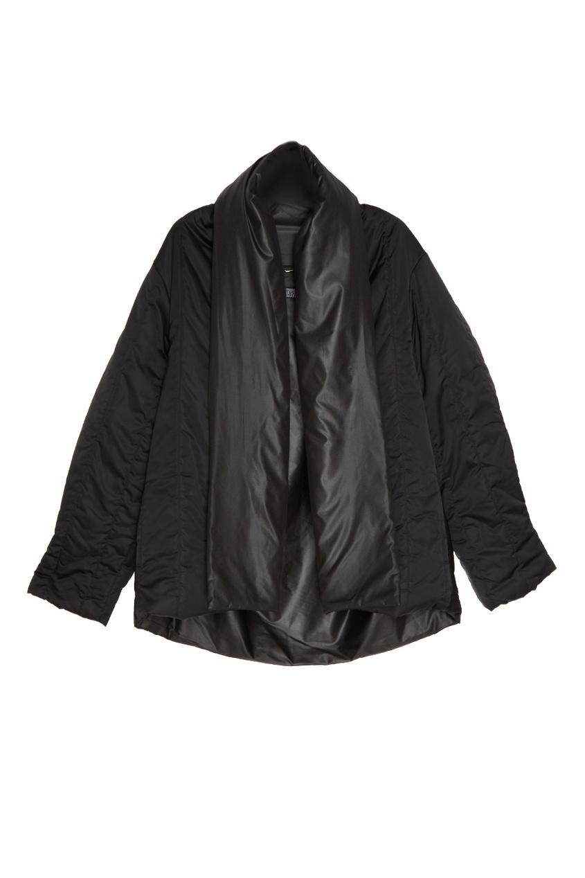 Черный стеганый пуховик