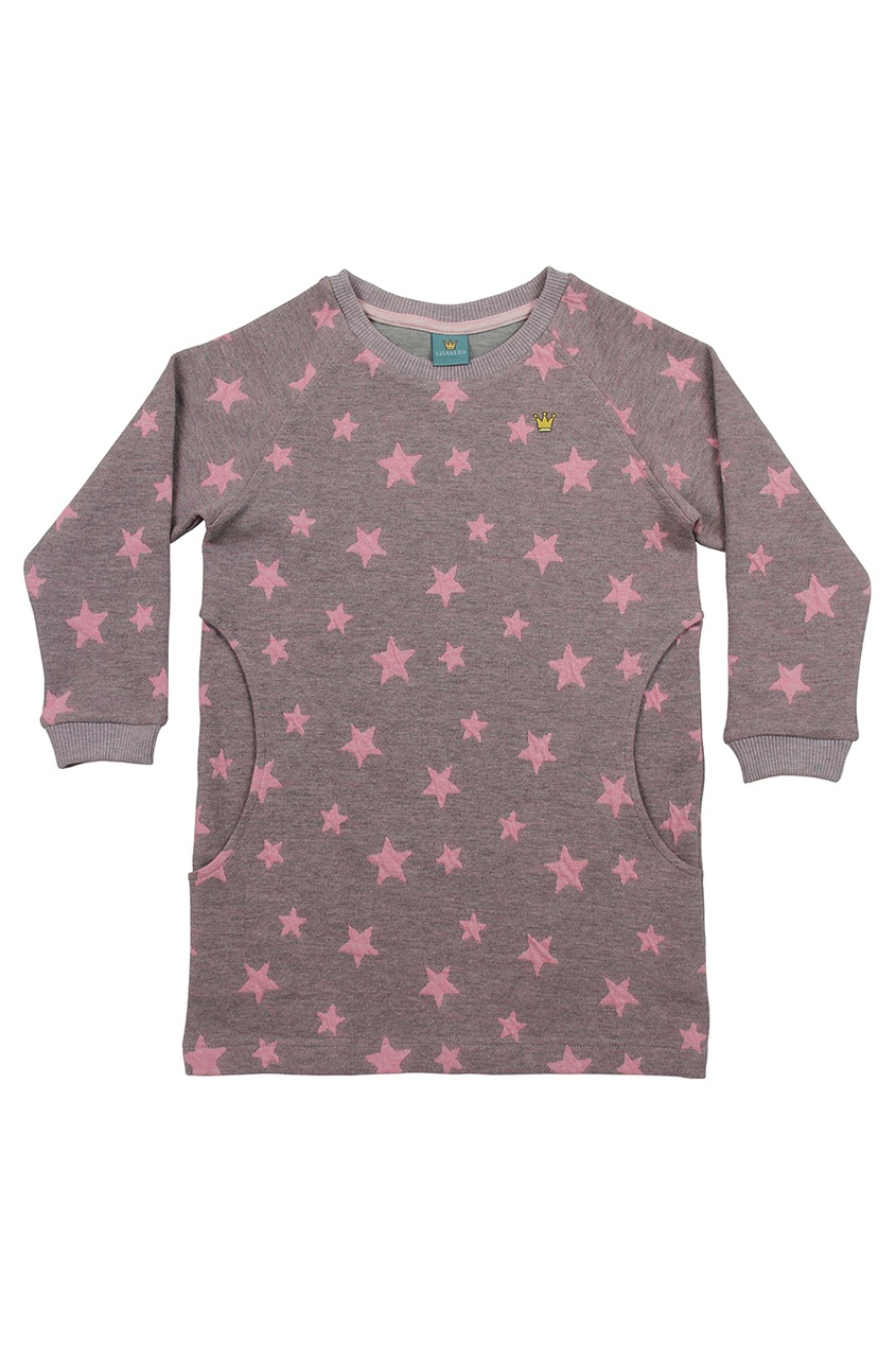 LISA&LEO Розовое хлопковое платье со звездами