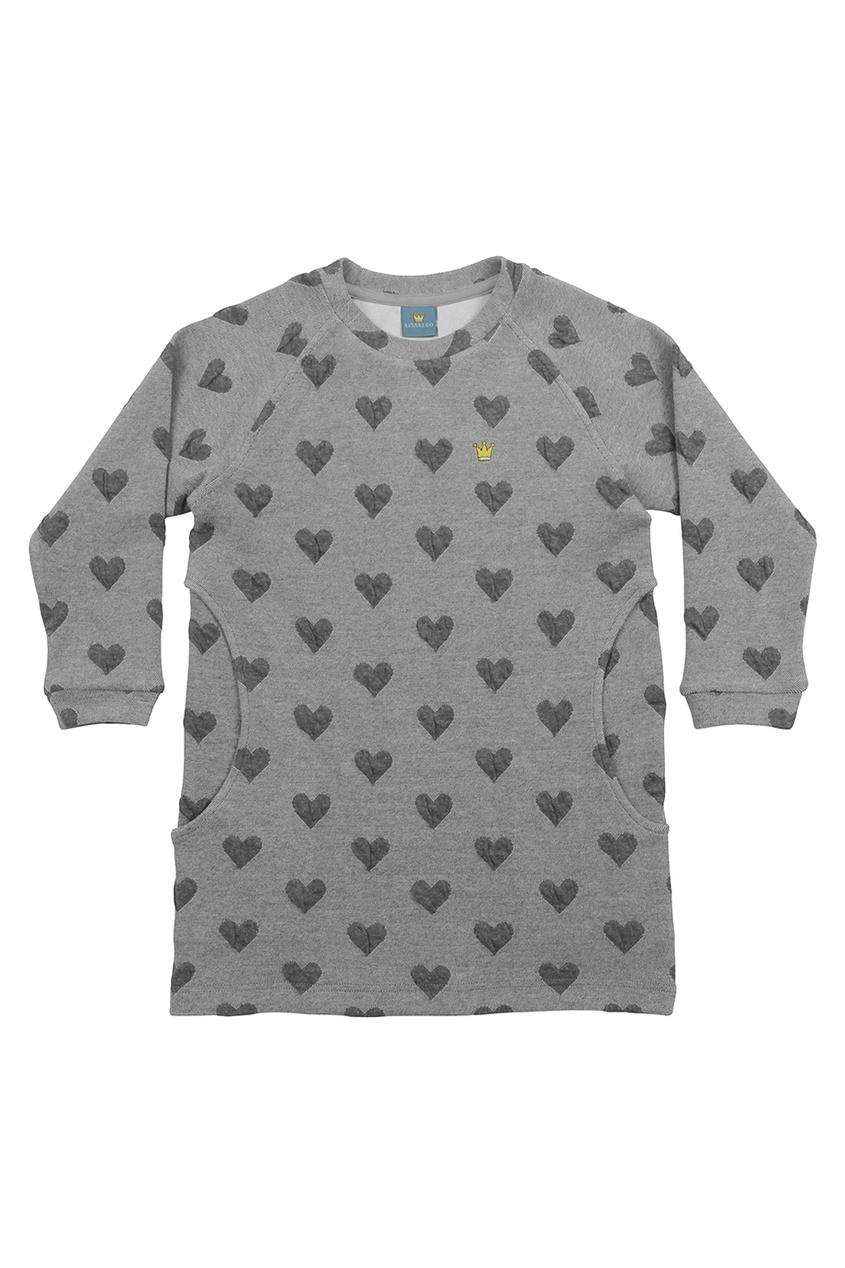 Серое хлопковое платье с сердечками