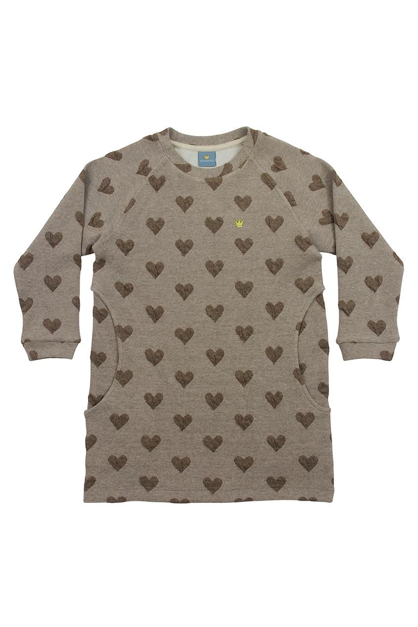 Бежевое хлопковое платье с сердечками