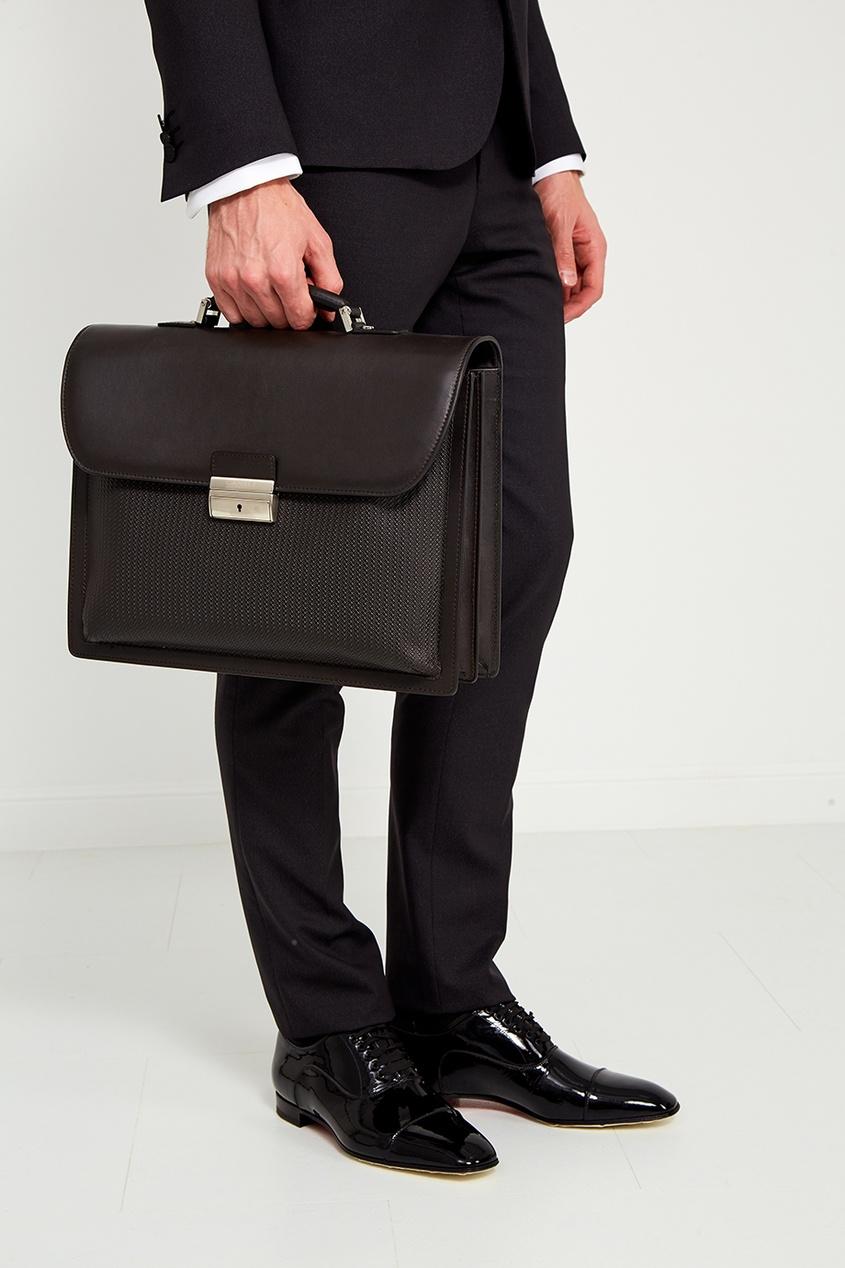 Canali Кожаный портфель коричневый canali шелковый кушак для смокинга