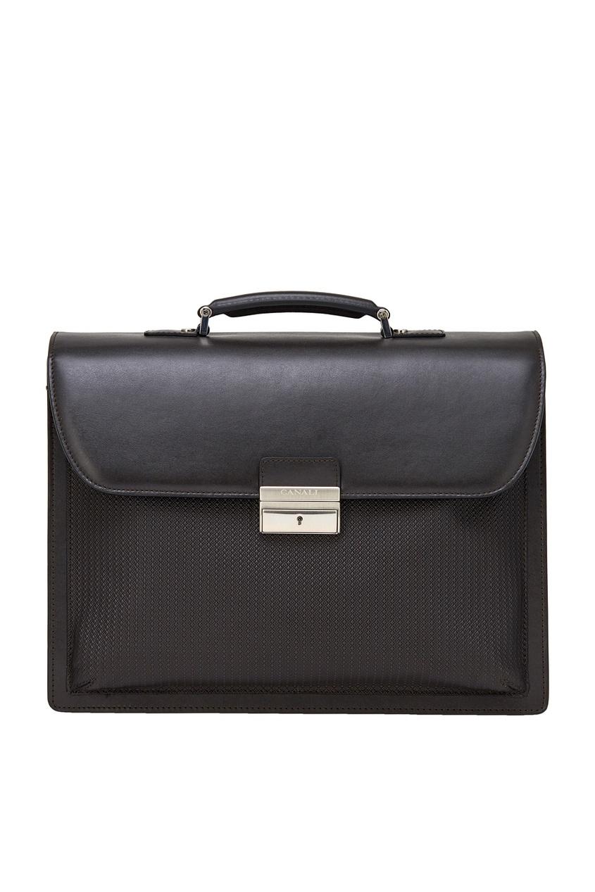 Кожаный портфель коричневый