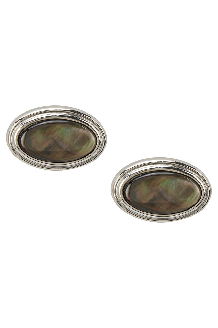 Canali Стальные запонки с черным жемчугом запонки