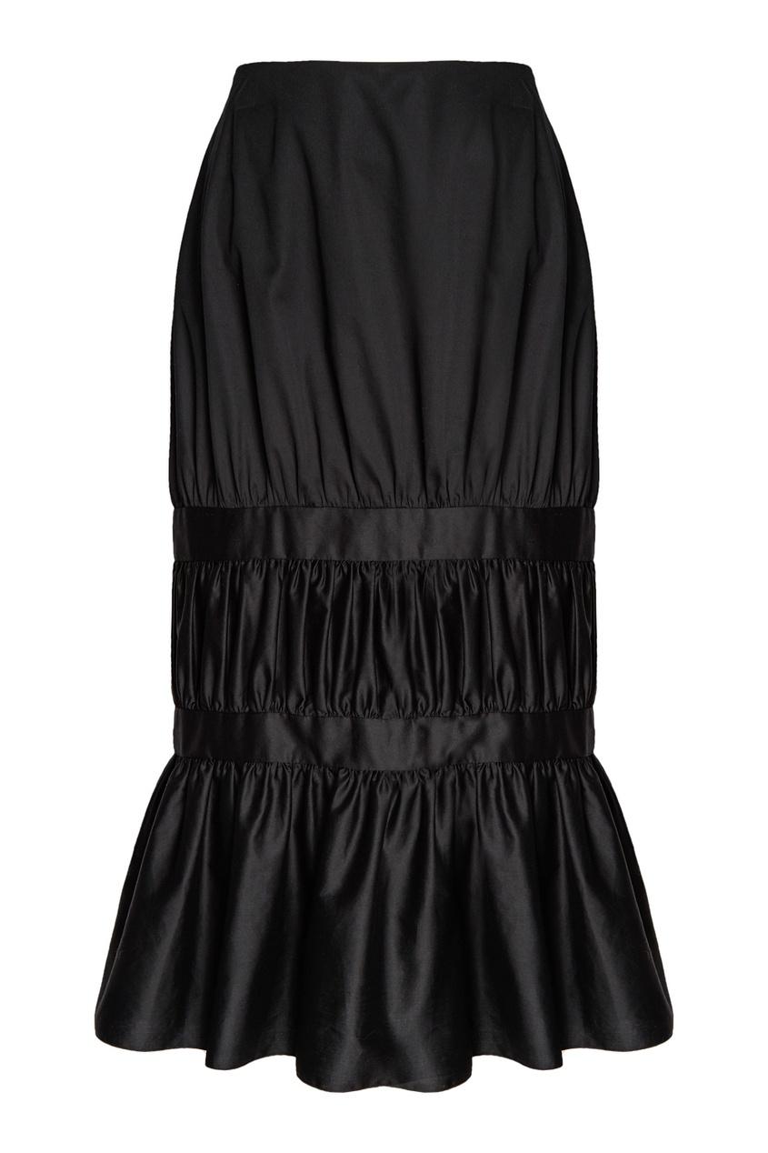 Хлопковая юбка с драпировками
