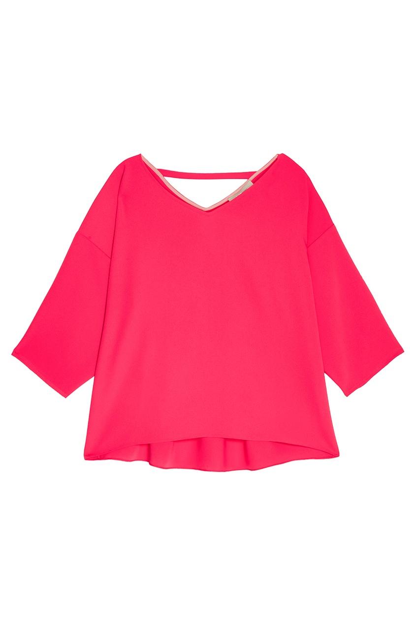 Розовая блузка с V-вырезом