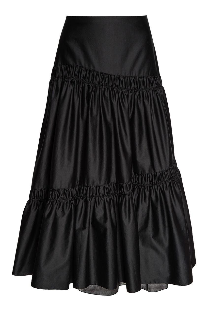 Черная юбка с драпировками