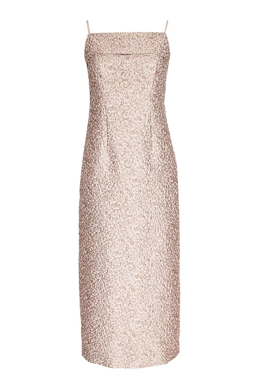 Розовое платье из жаккарда