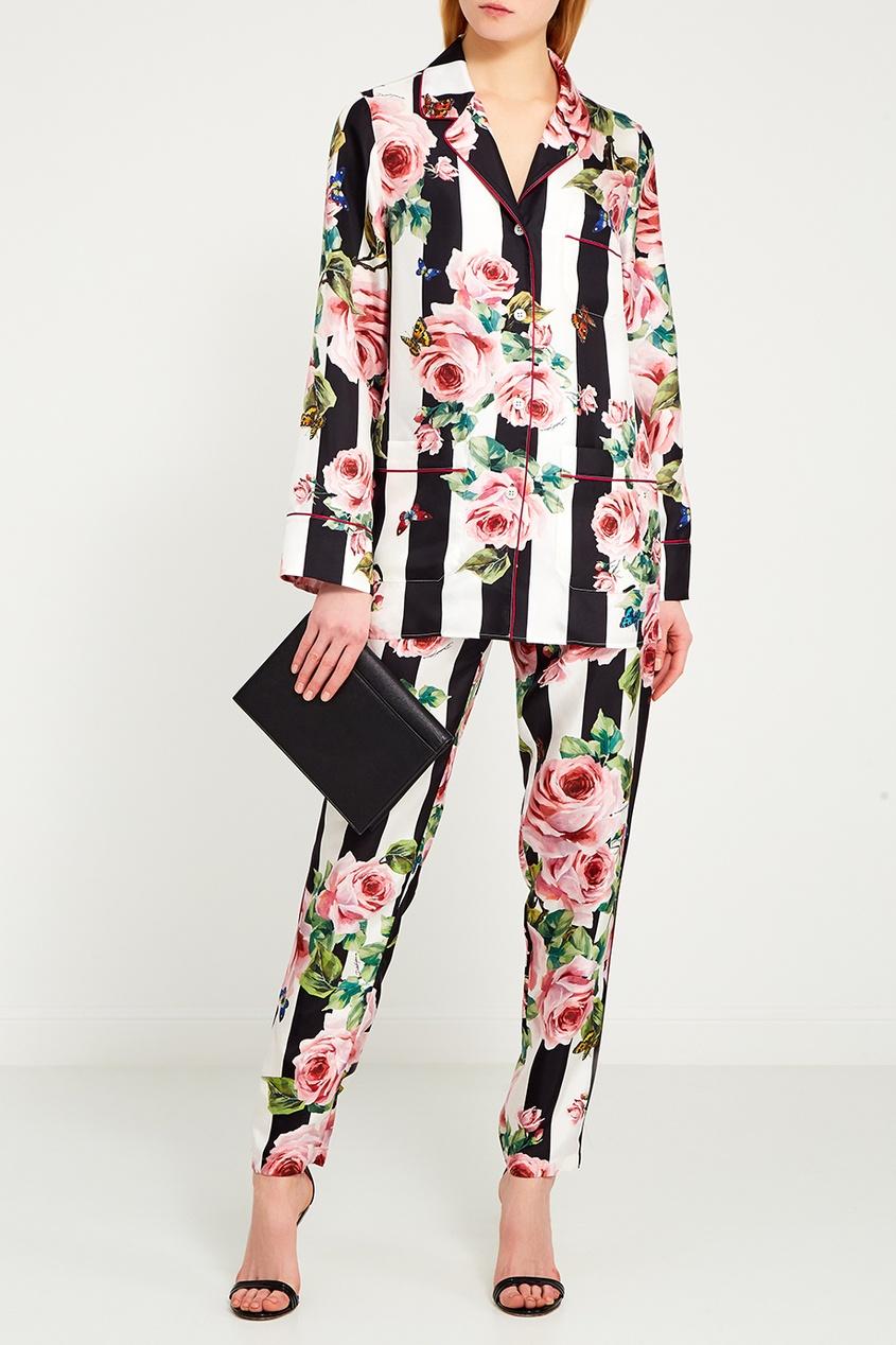 Dolce&Gabbana Шелковая блузка с принтом вундеркинд с пеленок обучающие карточки алфавит