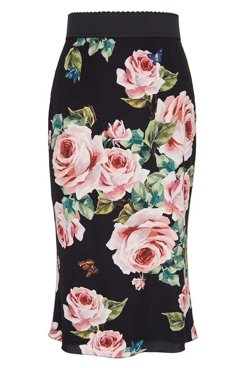 Шелковая юбка-карандаш с цветами Dolce&Gabbana
