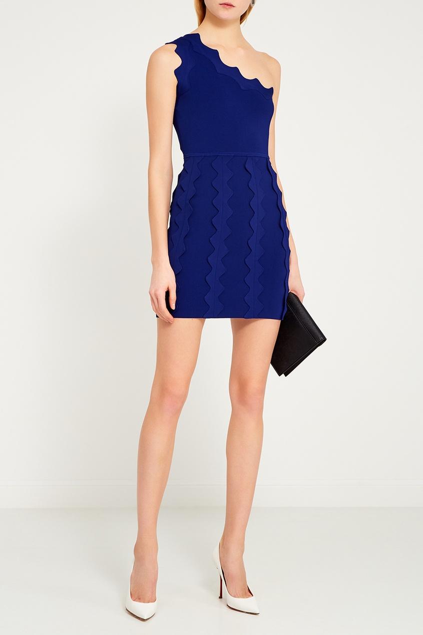 цена David Koma Синее платье с аппликацией онлайн в 2017 году