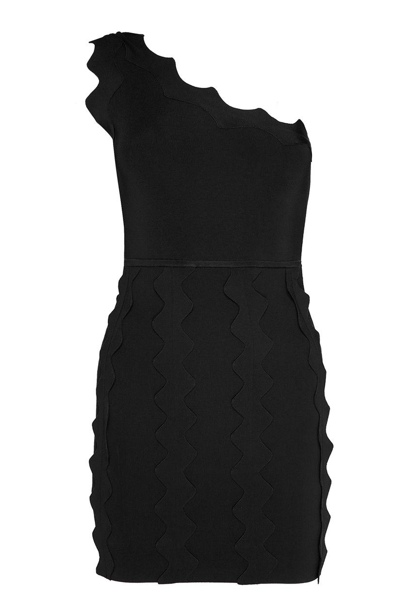 David Koma Черное платье с аппликацией платье черное с паетками 44