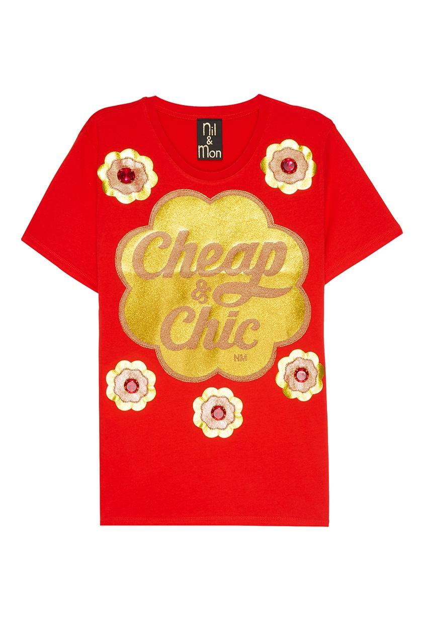 Nil&Mon Красная футболка с принтом nil