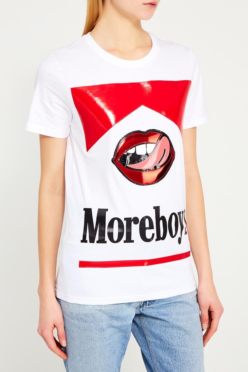 цена Nil&Mon Белая футболка с принтом онлайн в 2017 году