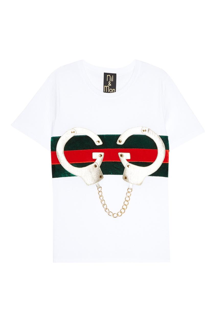 Nil&Mon Белая футболка с декором свободная туника с декором le fate свободная туника с декором