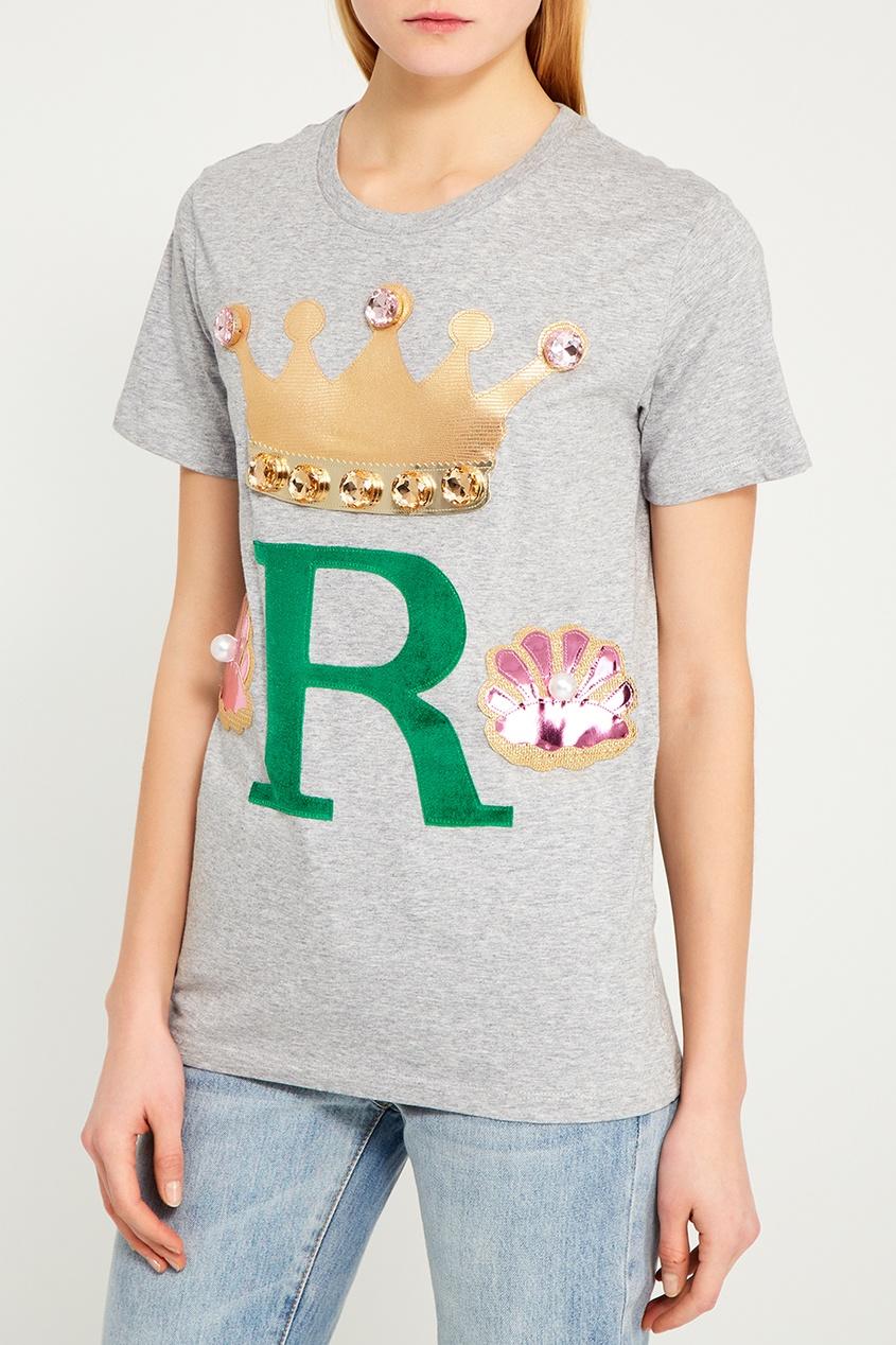 Серая футболка с комбинированным декором
