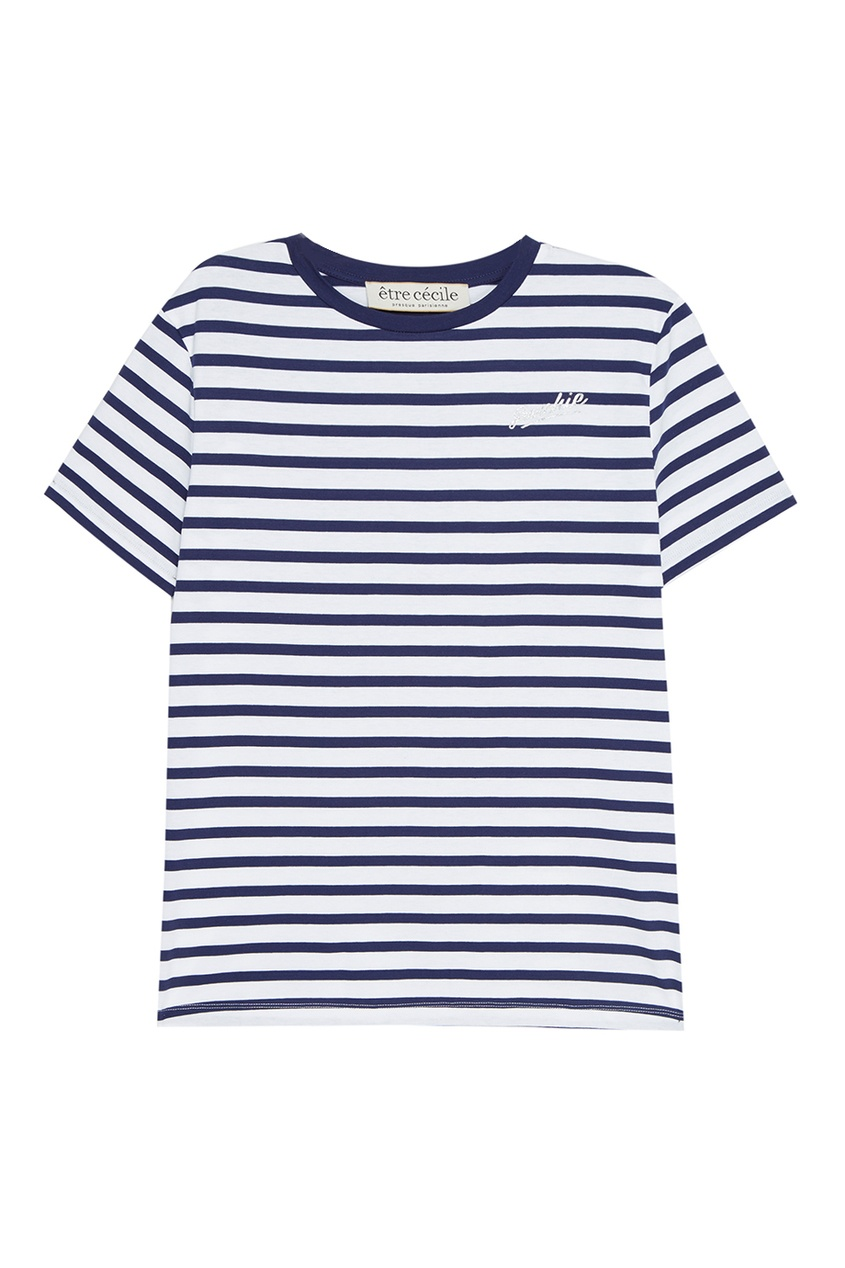 Etre Cecile Хлопковая футболка в полоску платье barkito солнечный берег 2 белое в синюю полоску и с синей отделкой