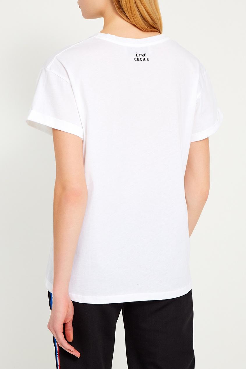 Белая футболка с контурным принтом