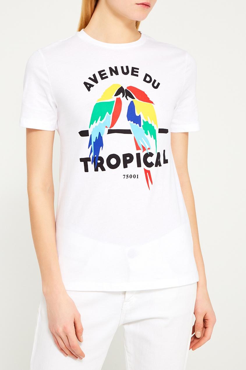 Белая футболка с попугаями