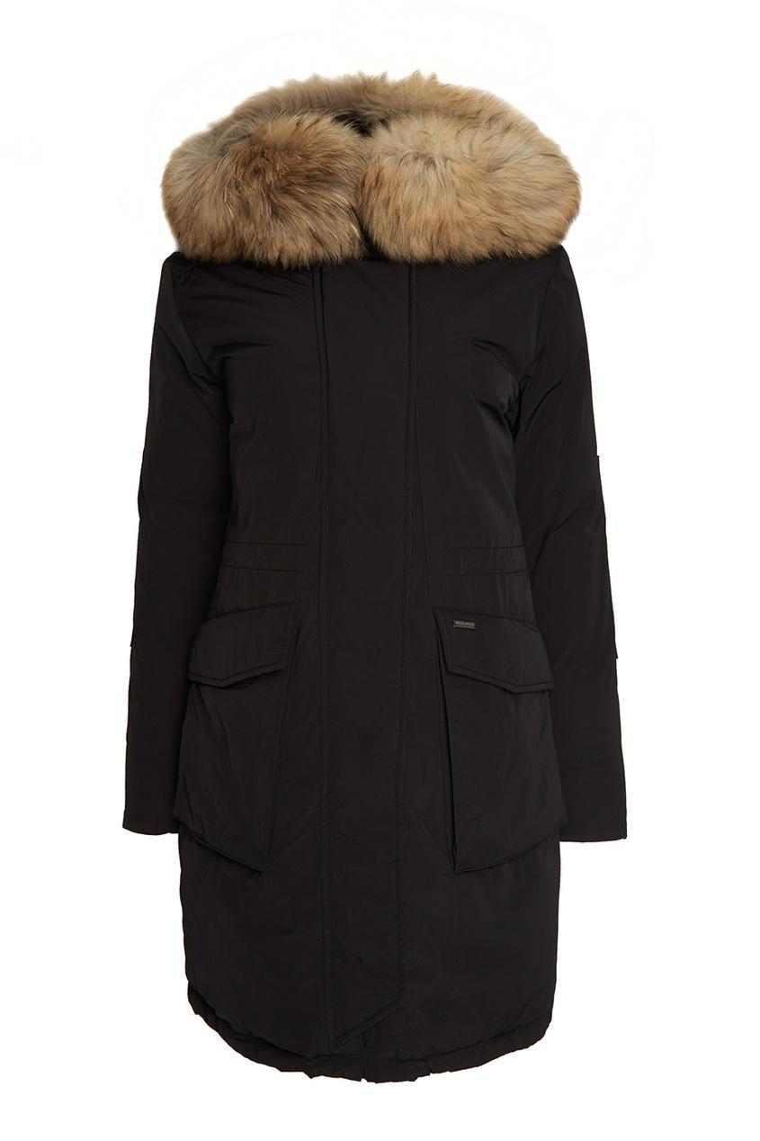 Woolrich Черная парка с мехом на капюшоне