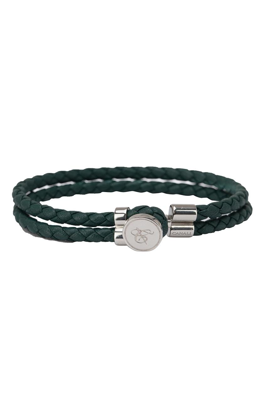 Зеленый браслет из кожи от Canali