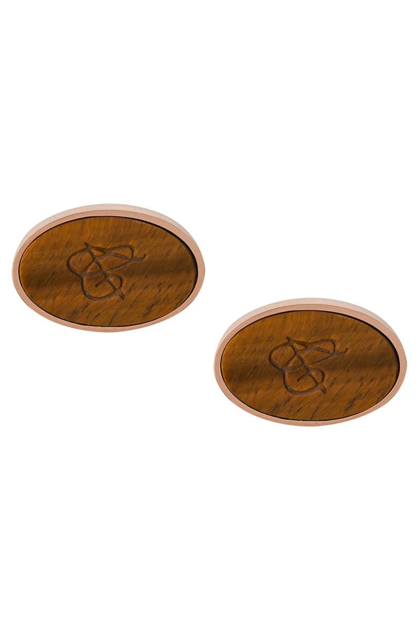 Canali Золотистые запонки с камнем Тигровый глаз запонки