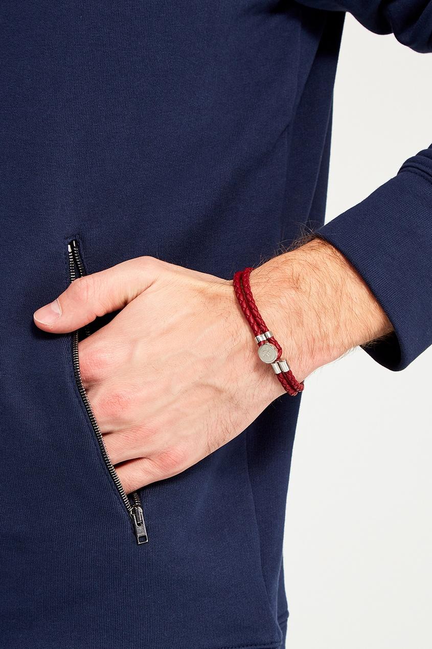Canali Красный браслет из кожи плетеный шнурок из натуральной кожи