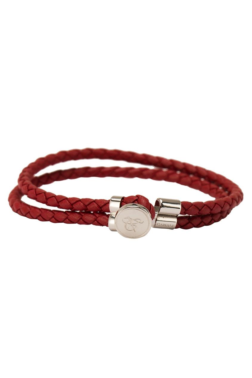 Красный браслет из кожи от Canali
