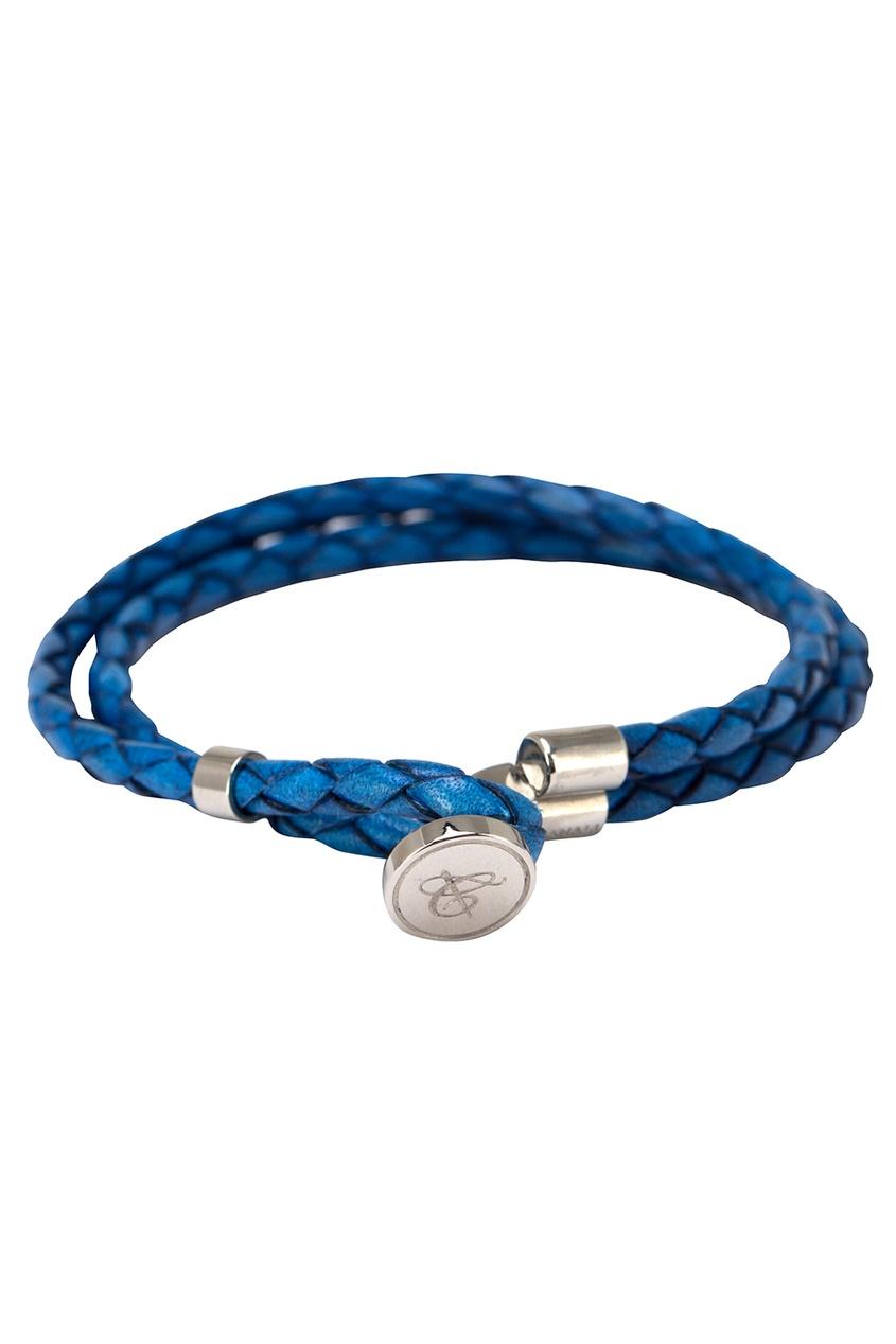 Голубой браслет из кожи от Canali
