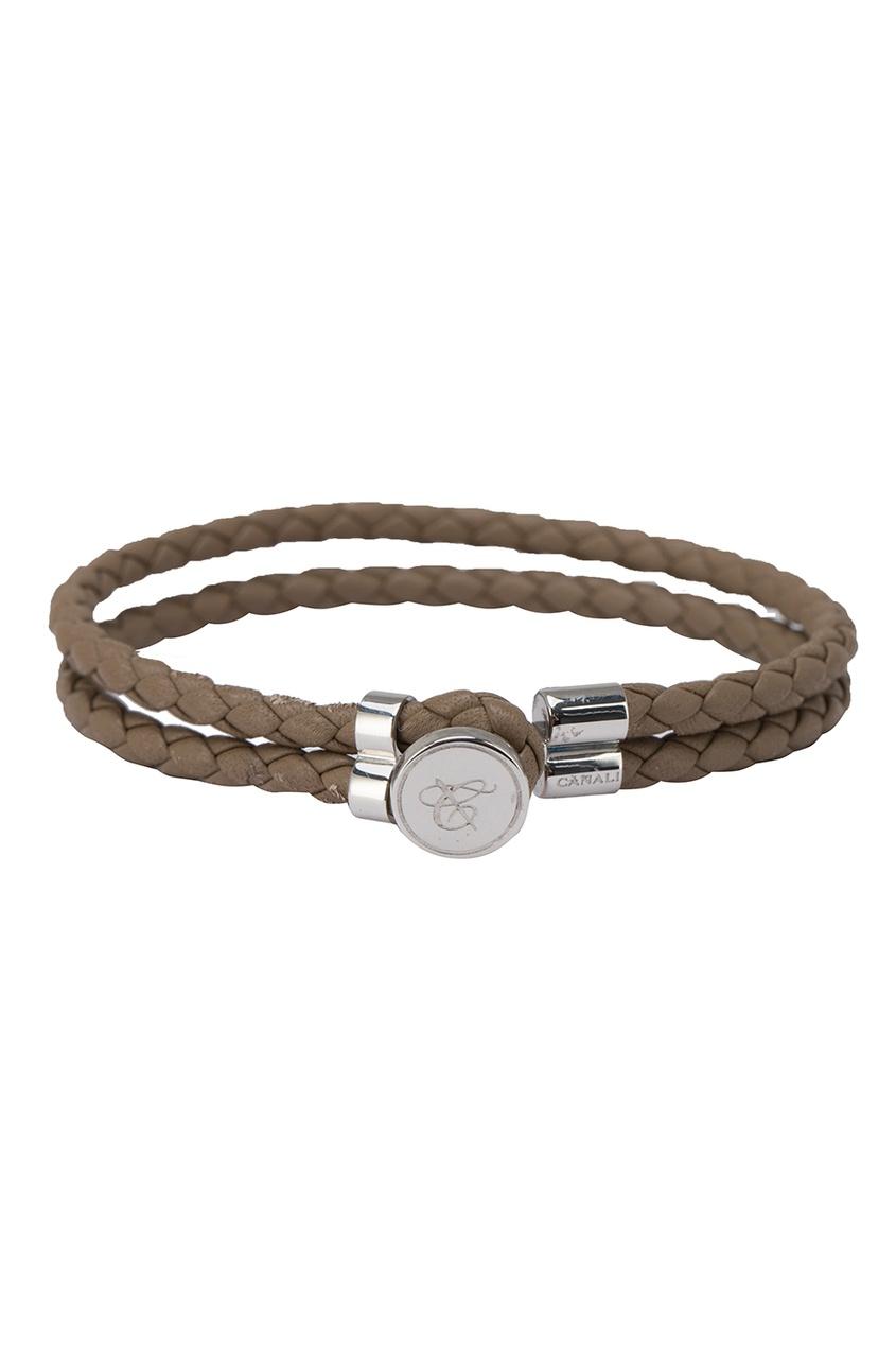 Кожаный браслет цвета хаки от Canali
