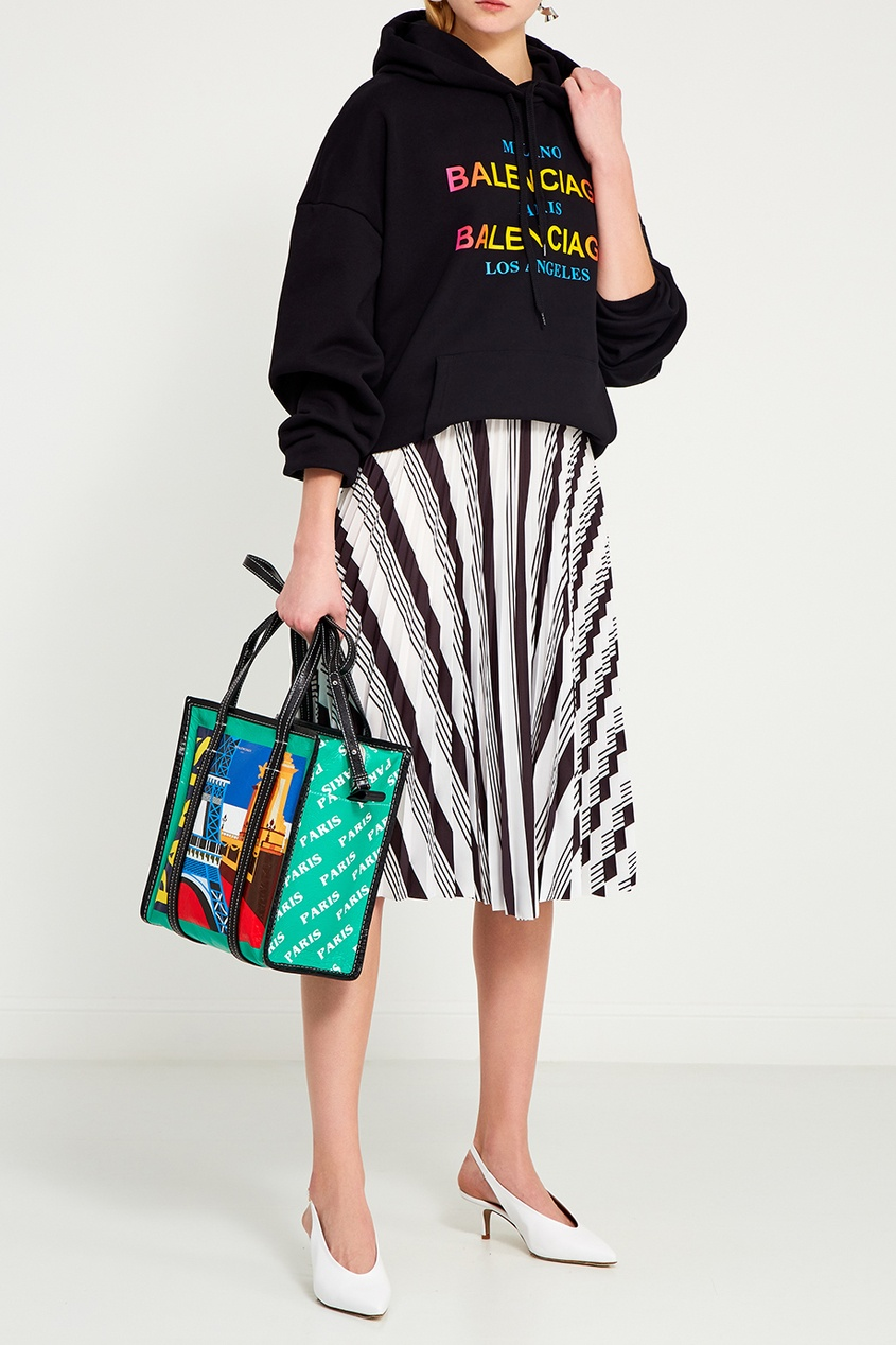 Кожаная сумка с принтом Bazar Paris S