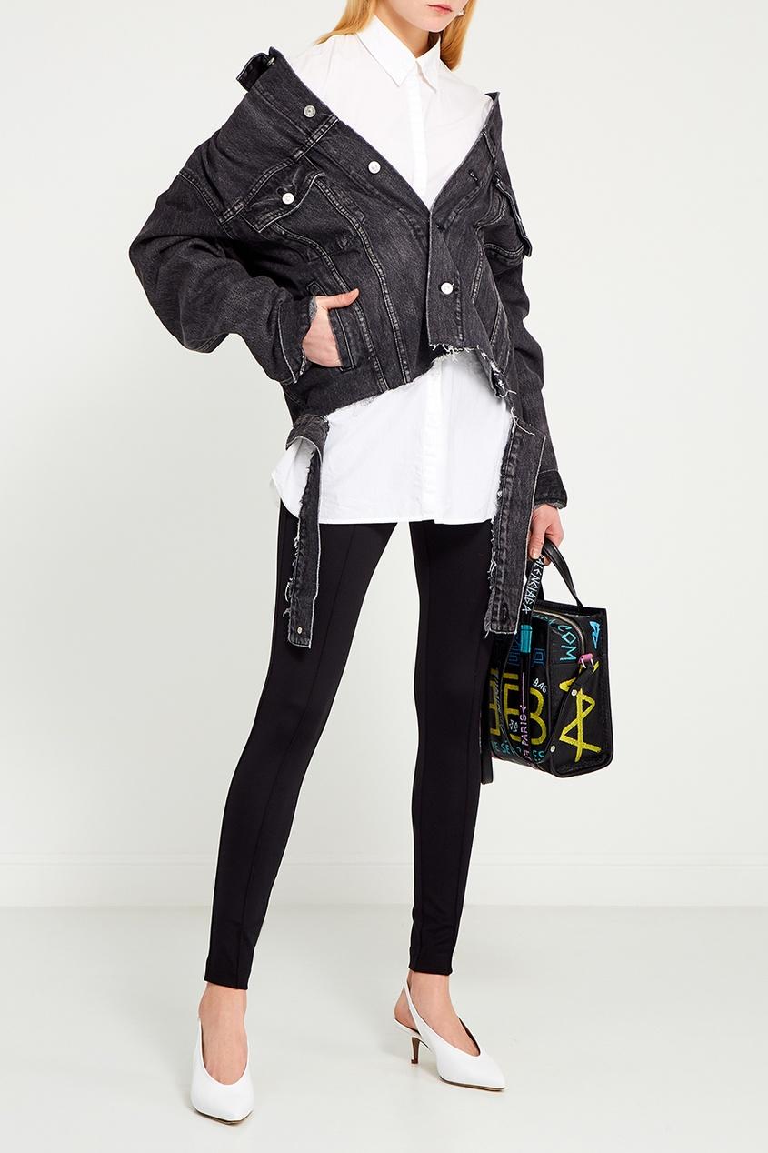 Balenciaga Черная куртка из вареного денима куртка короткая в стиле бомбер из ткани с имитацией денима